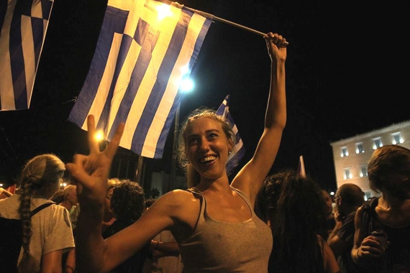Celebrating  NO. Syntagma Square, 5.7.2015. Photo by Marios Lolos