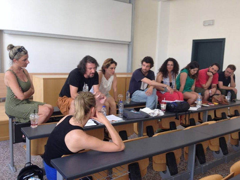 "Loukia Kotronaki, Chris Giovνanopoulos, Margarita Tsomou, Modestos Siotos, Despina Lalaki,  Katerina Anastasiou, Manos Avgeridis and George Giannakopoulos at the session ""Diasporic Networks and Social Movements in the Aftermath of Syriza's Victory"", GCAS Conference, Athens, 17.7.2015. Photo by Nicholas Evangelos Levis"