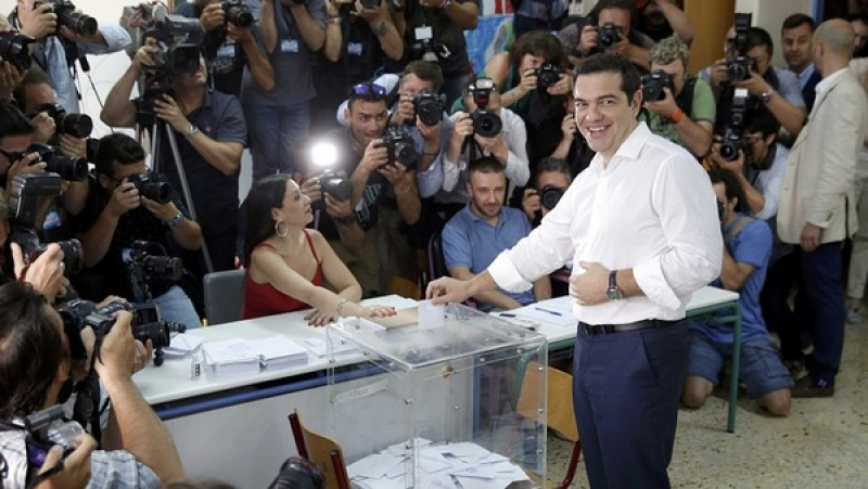 The Greek prime minister Alexis Tsipras votes in Athens
