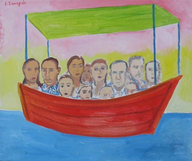"Edward Sakagian, ""Read boat with travellers"""
