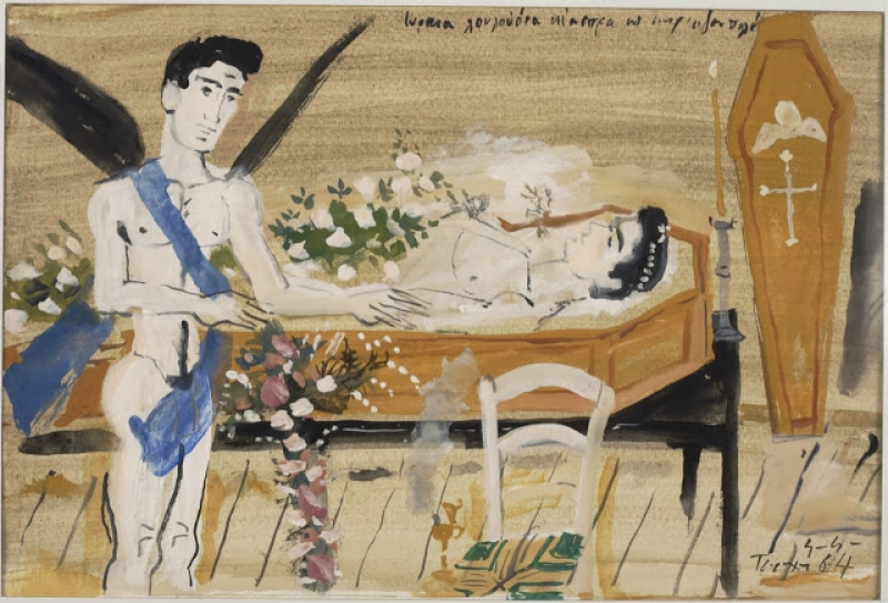 Yiannis Tsaroychis, «Lovely White Flowers» (illustration for the for Cavafy's poem), 1964