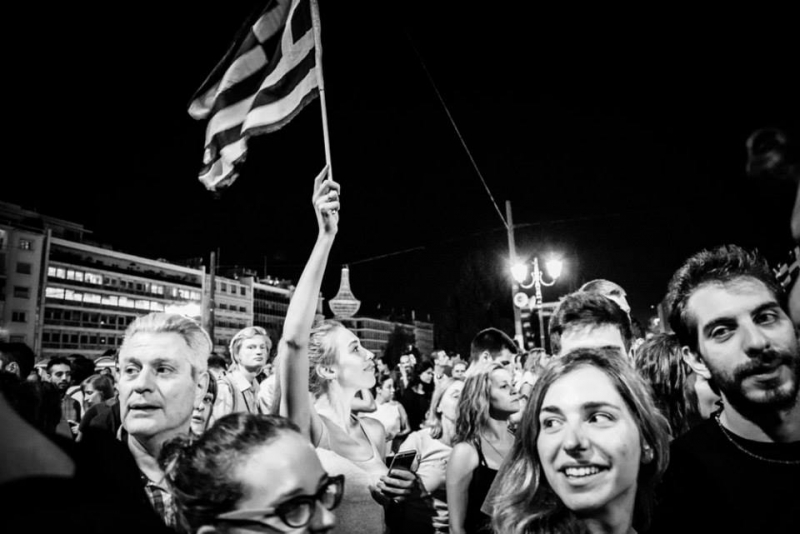 Celebrating  NO. Syntagma Square, 5.7.2015. Photo by Angelos Kalodoukas